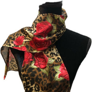 Scarf with Brown Cheetah Print & Red Roses